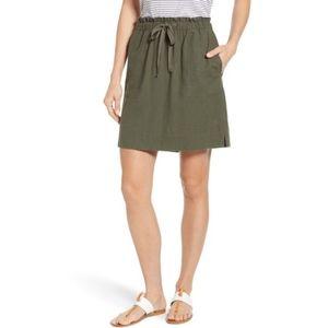 Paperbag Waist Linen Blend Skirt